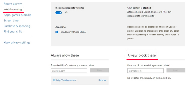 Turning on Blocking inappropriate websites dialog in Windows 10